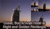 Dubai: Burj Al Arab Hotel at Night and Golden Rectangles, HTML5 Animation for iPad.