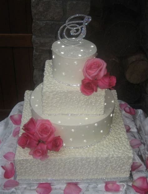 wedding cakes with rhinestone banding   Diamond Wedding