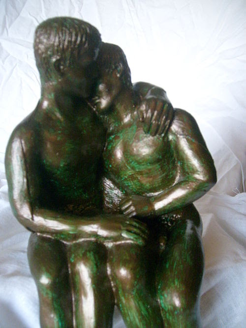 'Male Lovers' Male Nude Sculpture created by Lidbury