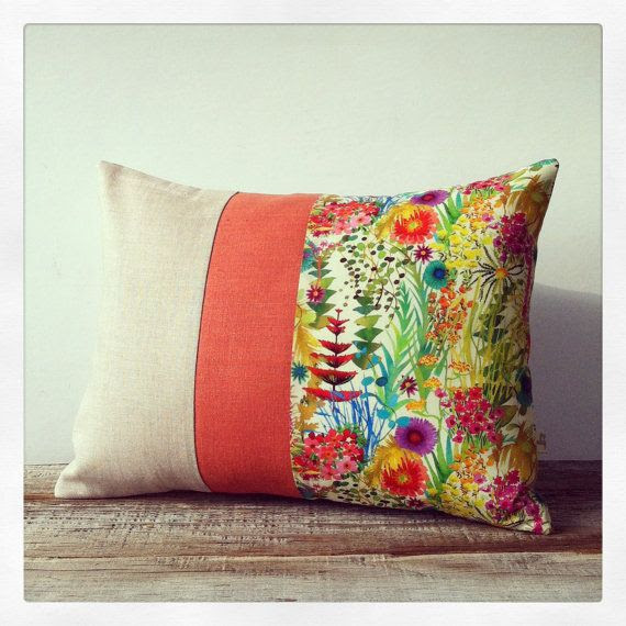 Bright Floral Decorative Pillow - Tresco Liberty Print - Watercolor Flowers - Summer Home Decor by JillianReneDecor - Tresco Tawn Lawn