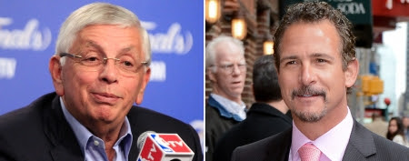 (L-R) David Stern (AP); Jim Rome (Ray Tamarra/Getty Images)
