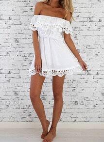 Vestido Casual encaje hombro al aire-blanco