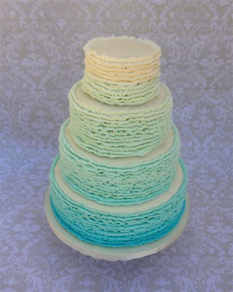 Buttercream Ombre Ruffle Wedding Cake   CakeCentral.com