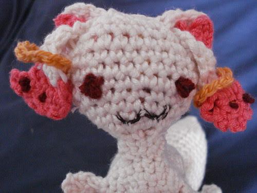Kyubey stares into your soul. Cute demonic amigurumi from Madoka Magica