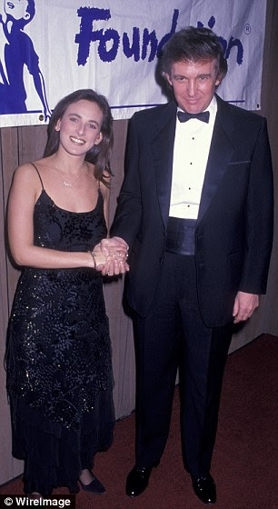 Matlin is the only deaf actress to win an Academy Award. She is pictured here with Trump at a Manhattan gala in 1989