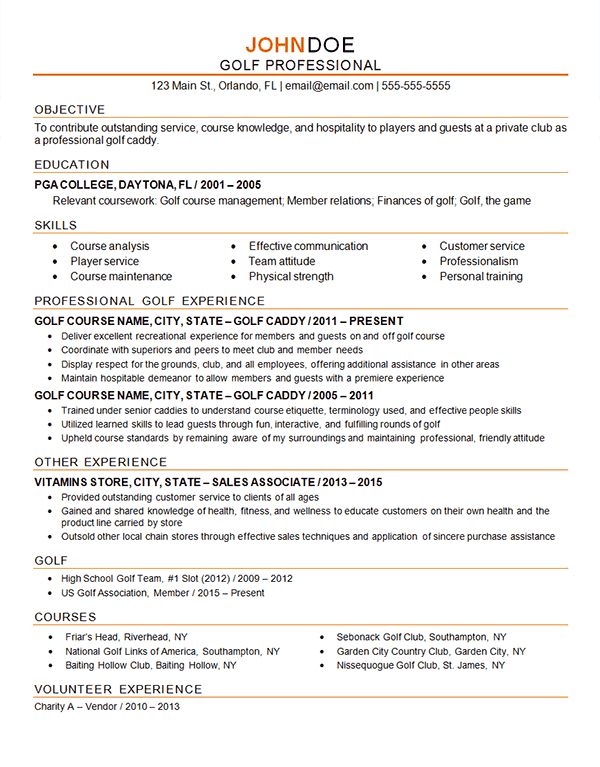 Golf Professional Resume Example  Caddy  Instructor