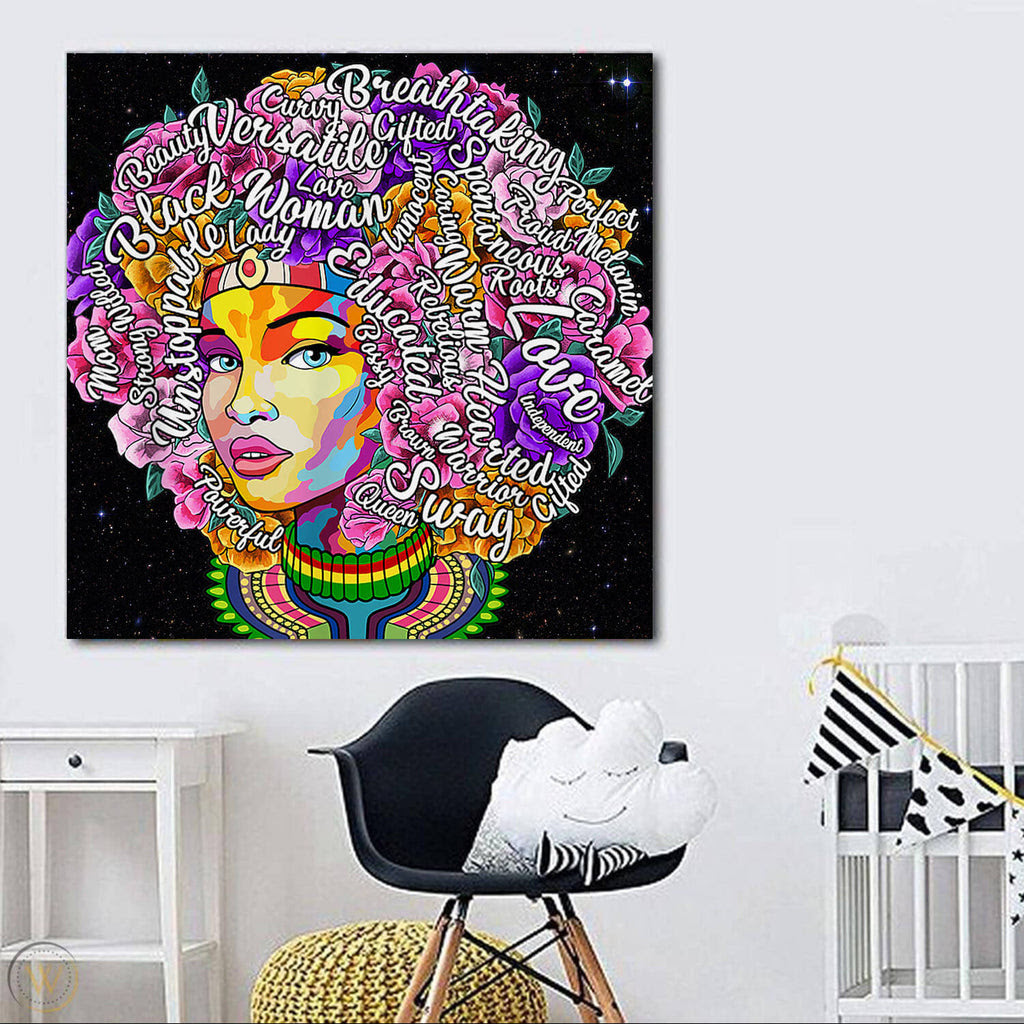African American Canvas Art Afro Motivation Black Girl Afrocentric Roo Wbgstore