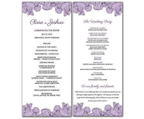 DIY Purple Poppy Flowers Wedding Program Microsoft Word