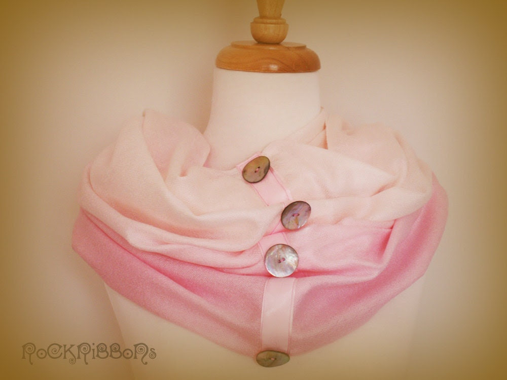 Pink cashmere pashmina  - infinity - ombré - winter scarf - shoulder warmer - circular scarf - cowl - snood - knit scarf with shell buttons.