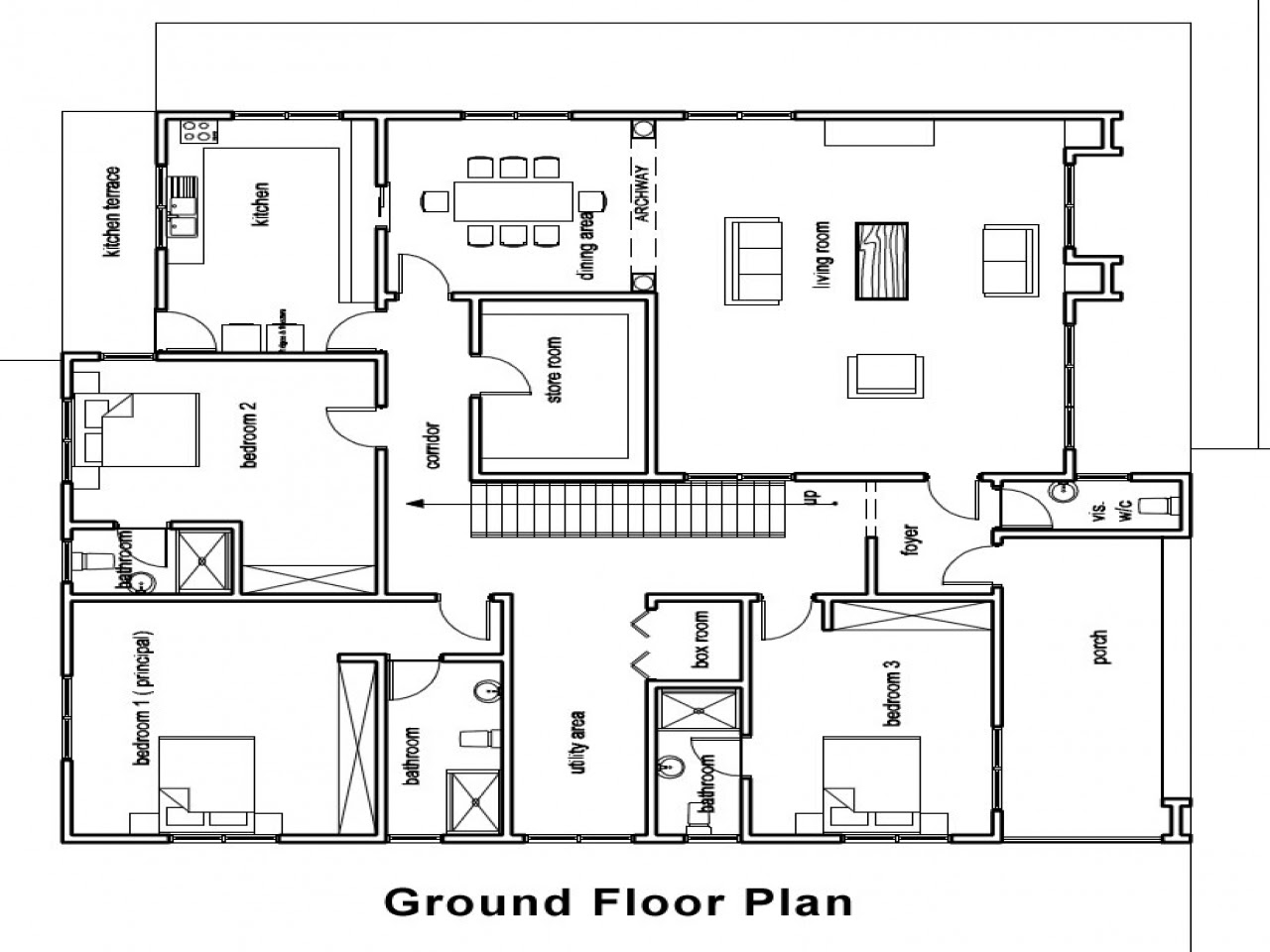 Ghana House Plans Three Bedroom House, in ground house ...