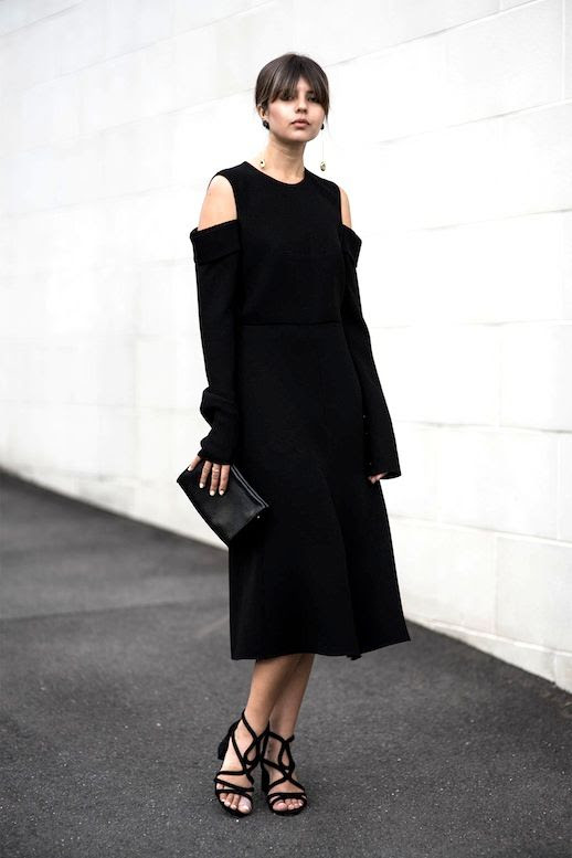 Le Fashion Blog Summer Blogger Minimalist Style Black Cold Shoulder Dress Clutch Heeled Sandals Via Badlands