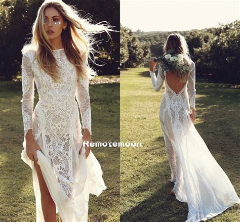Vintage Lace Boho Wedding Dress Long Sleeves Backless