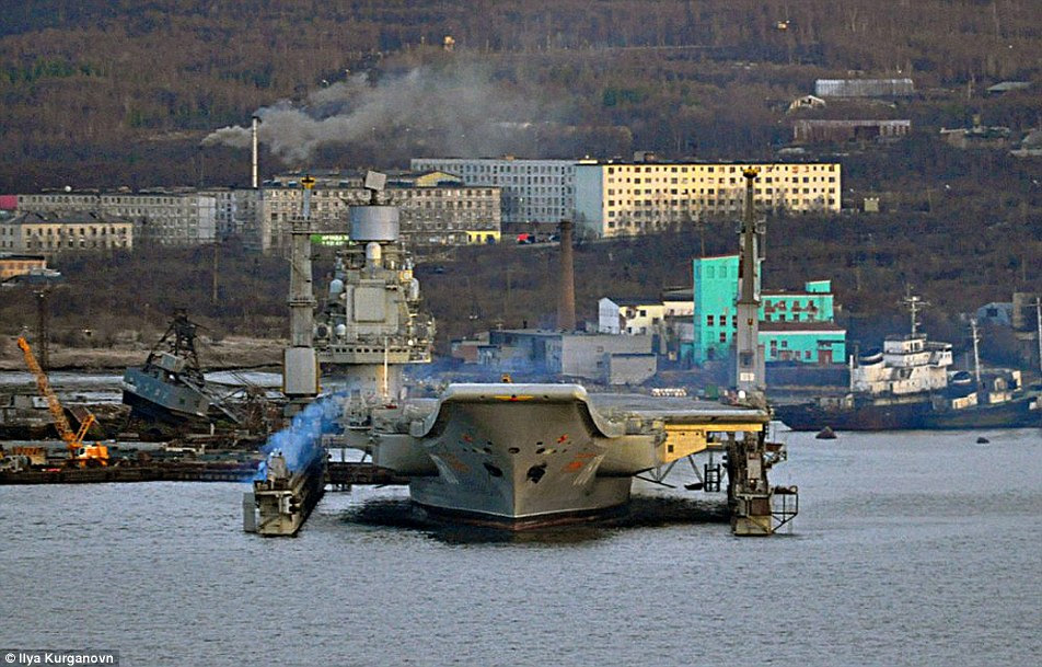 Admiral Kuznetsov, which is leading Russia's fleet, is in desperate need of repairs, pictured previously in the repair dock