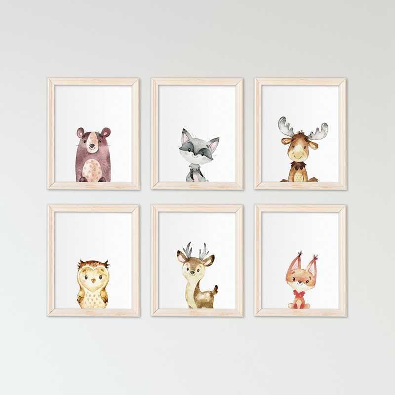 ウッドランド動物アートキャンバス絵画の壁絵保育園インテリア、かわいい水彩ウサギキツネクマプリントベビールームの壁アート|絵画 & 書道| - Gooum