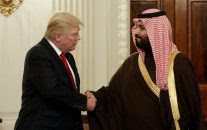President Donald Trump shakes hands with Saudi Defense Minister and Deputy Crown Prince Mohammed bin Salman, Tuesday, March 14, 2017, in the State Dining Room of the White House in Washington. (AP/Evan Vucci)