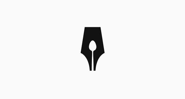 El logo del Gremio de Escritores gastronómicos muestra una cuchara entre la punta de una pluma estilográfica.