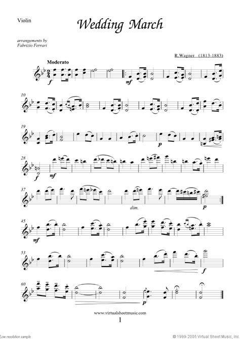 Wedding Sheet Music for violin and cello [PDF interactive]
