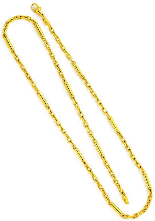 Foto 3, ANKER-GOLDKETTE MIT LANGEN GOLD-ZYLINDERN GELB-GOLD 14K, K2497