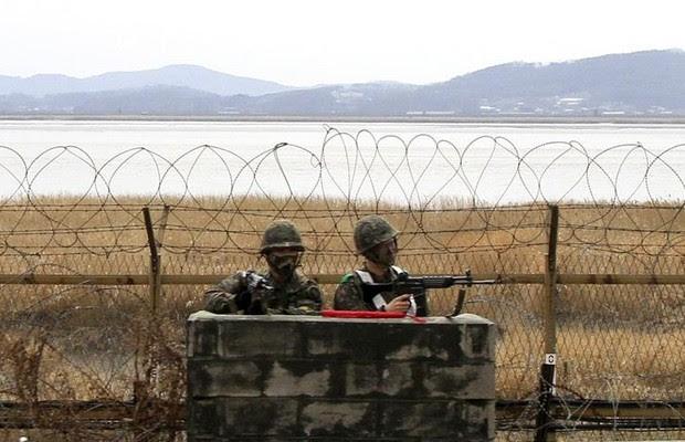 Fronteira da Coreia do Sul com a Coreia do Norte: clima de tensão (Foto: Agência EFE)