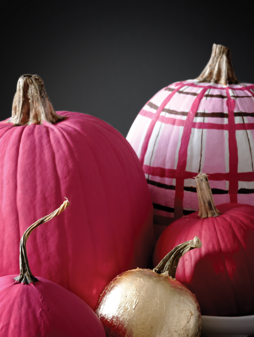 Pink painted pumpkins, plaid pumpkins