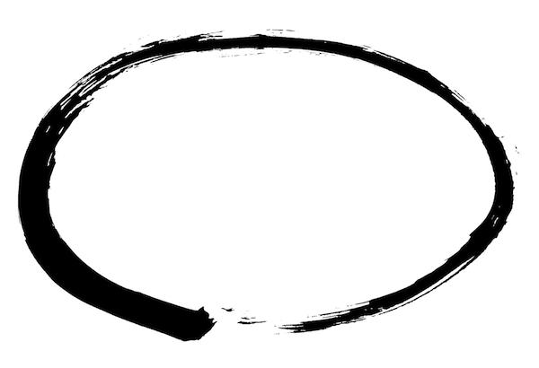 楕円状の丸墨枠フレームイラスト和風素材