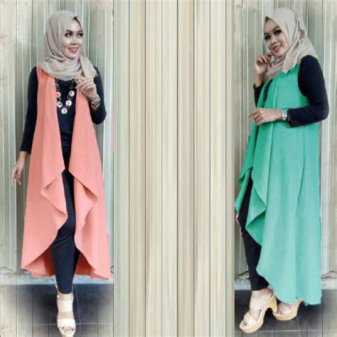 baju fashion hijab setelan muslim long vest modis terbaru