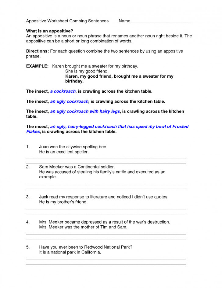 Appositives Worksheet  Homeschooldressage.com