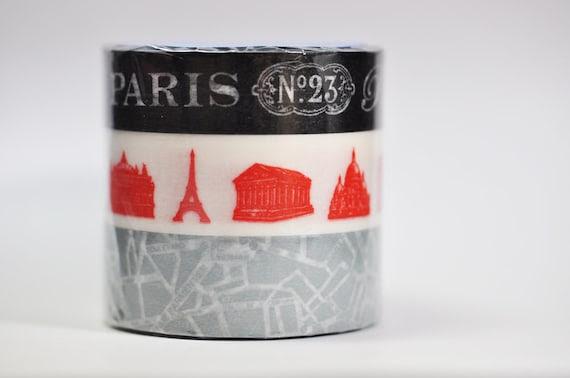 Paris Travel Washi Tape - Black and Grey