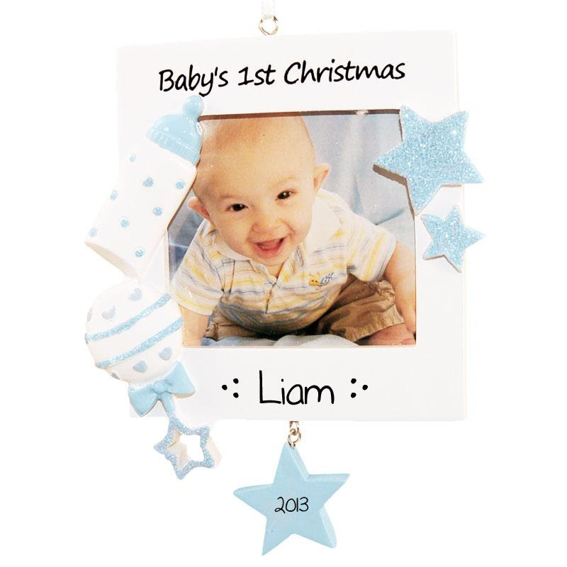 Babys First Christmas Ornament Blue Photo Frame Lovable Ornaments