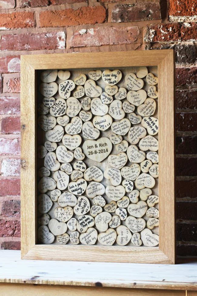 Creative Guest Books The Lovely Wedding Frame With Wooden Hearts