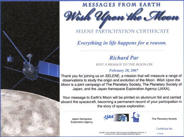 My WISH UPON THE MOON certificate.