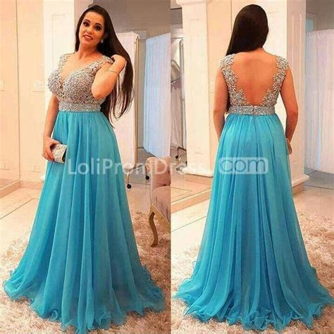 49%OFF Cheap Long Plus Size Blue A line Prom Dresses 2019