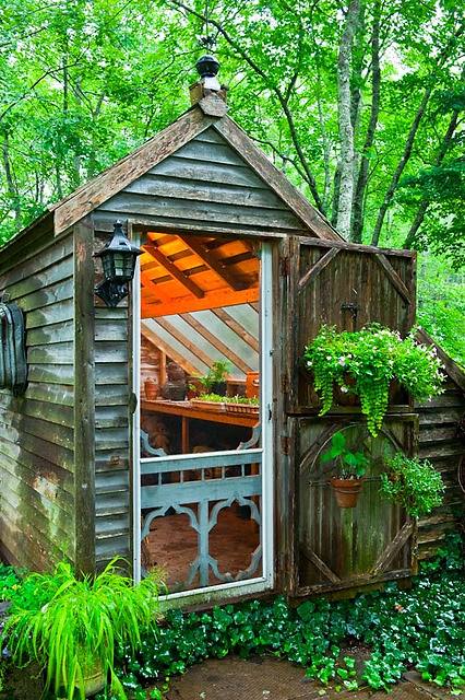 rustic greenhouse. . . love the old fashioned screen door!