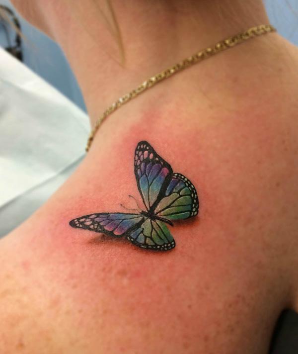 3d Butterfly Tattoo On Girls Shoulder
