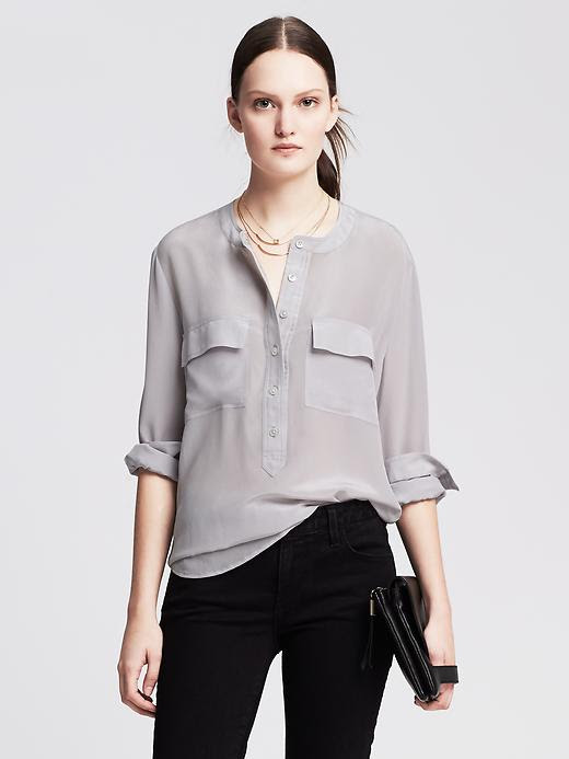 Banana Republic Dark Silk Popover Blouse