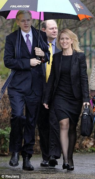 Ms Robinson pictured with Assange