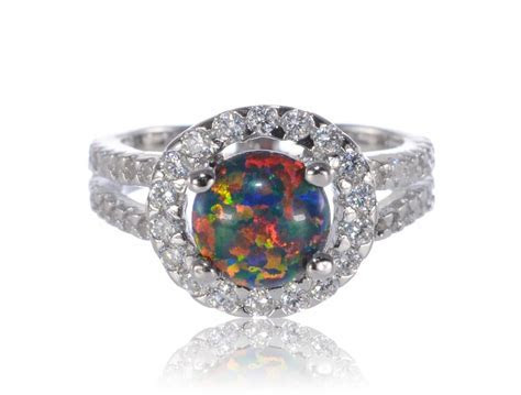 Round Cut Black Fire Opal Halo Bridal Wedding Engagement