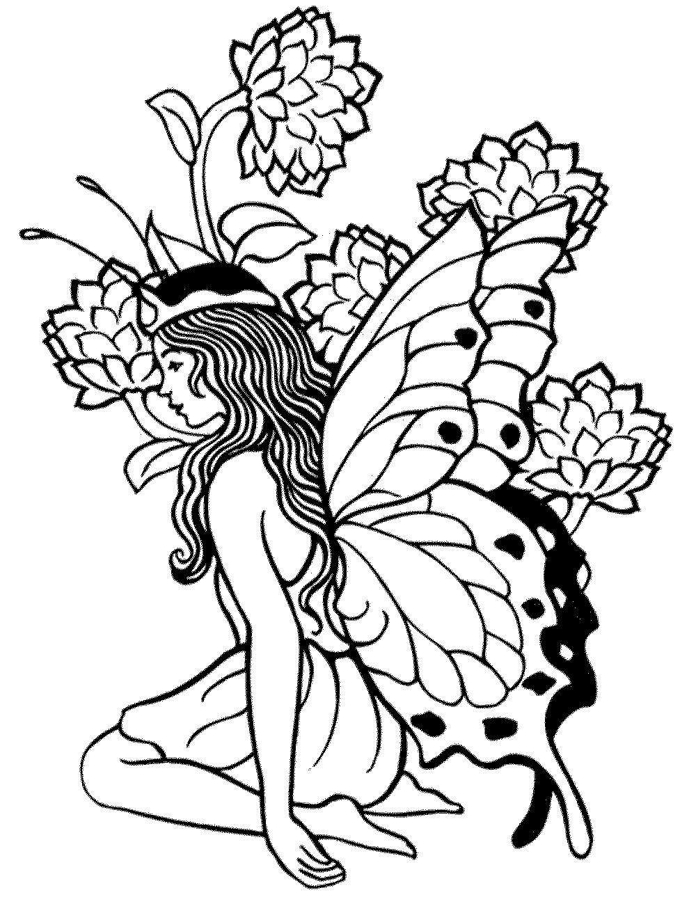 fairies and unicorn colouring - Clip Art Library