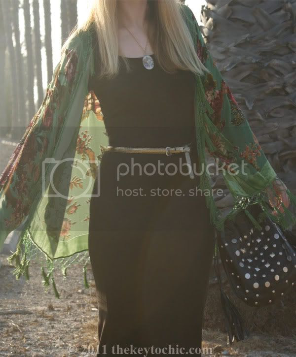 beaded fringe kimono, H&M maxi dress, Topshop Amie wedges, California fashion blog