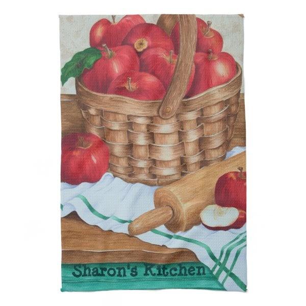Cool home decor stuff apple basket kitchen towels for Apples decoration for home