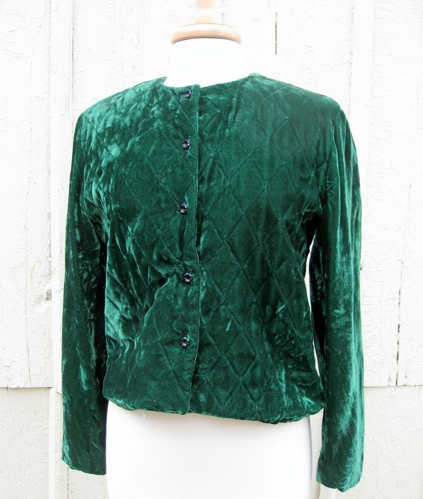 Kelly Green Quilted Velvet Jacket Medium - stacyleighatelier
