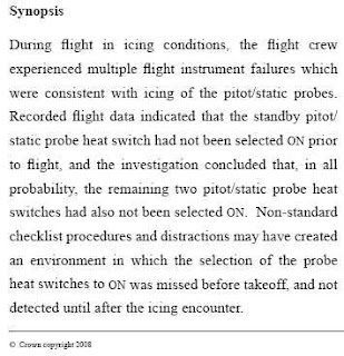 excerpt from the AAIB report into the troubled Flybe flight