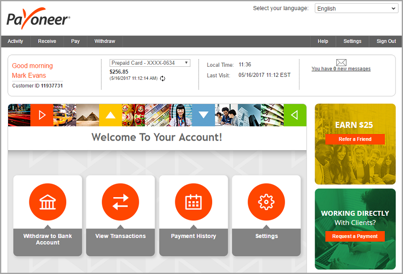 Transfer Payoneer funds to local bank