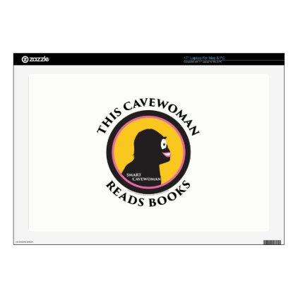 """17"""" Laptop Mac/PC Skin Smart Cavewoman Reads Books Decal For 17"""" Laptop"""