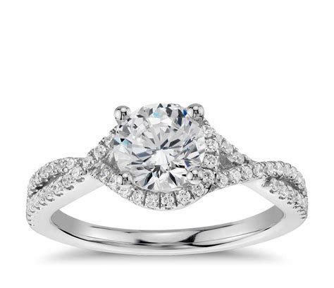 Twisted Halo Diamond Engagement Ring in 14k White Gold (1