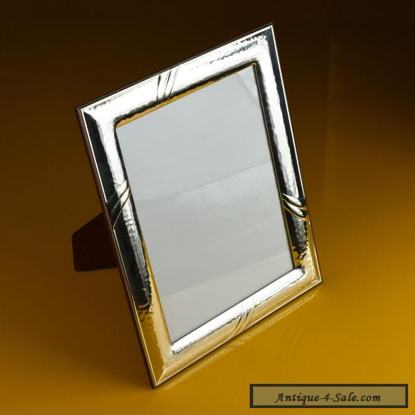 Beautiful Vintage Sterling Silver Photo Frame On Solid Wood Base