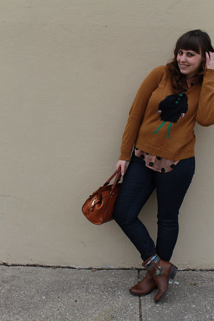 "Heavy Rotation outfit: Pilcro jeans, blanket ankle cowboy boots (caballero boots), sheet polka-dot button-down blouse, J.Crew ""La Parisienne"" intarsia sweater, Lauren by Ralph Lauren ""Winslow satchel"" bag"