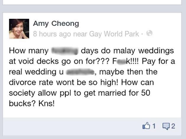 Amy Cheong Facebook comment