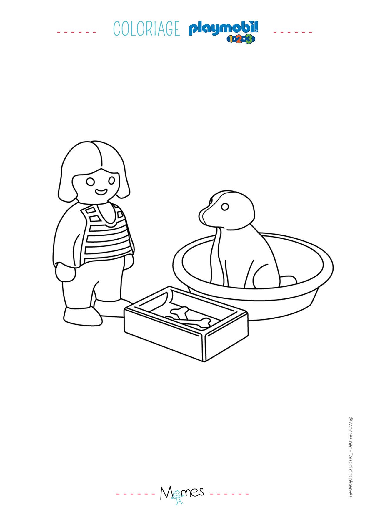 Coloriage La Petite Fille Et Son Chien Playmobil 123 Momesnet