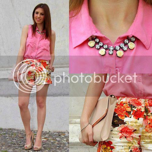 Zara Printed Floral Shorts Primark Nude Pumps H&M Roses Necklace